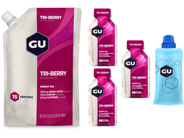 GU Energy Gel Bundle Bulk Pack 480g + Gel 3x32g + Flask, Tri Berry
